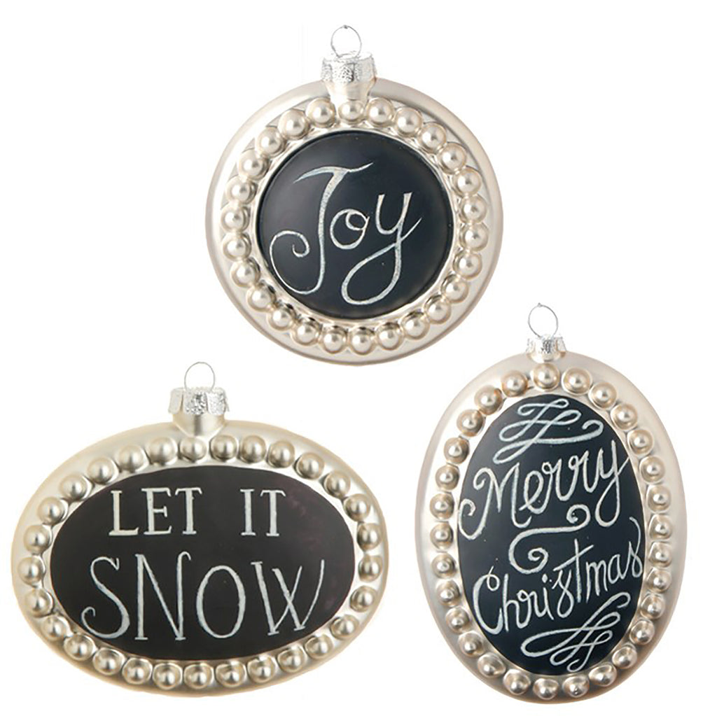 "6"" VINTAGE CHALKBOARD MESSAGE ORNAMENTS"