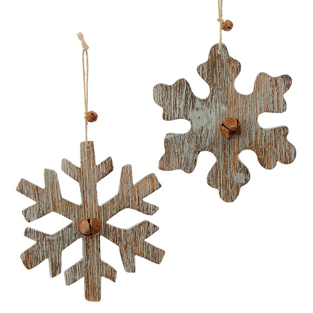 "7"" WOOD SNOWFLAKE ORNAMENT WITH BELLS"