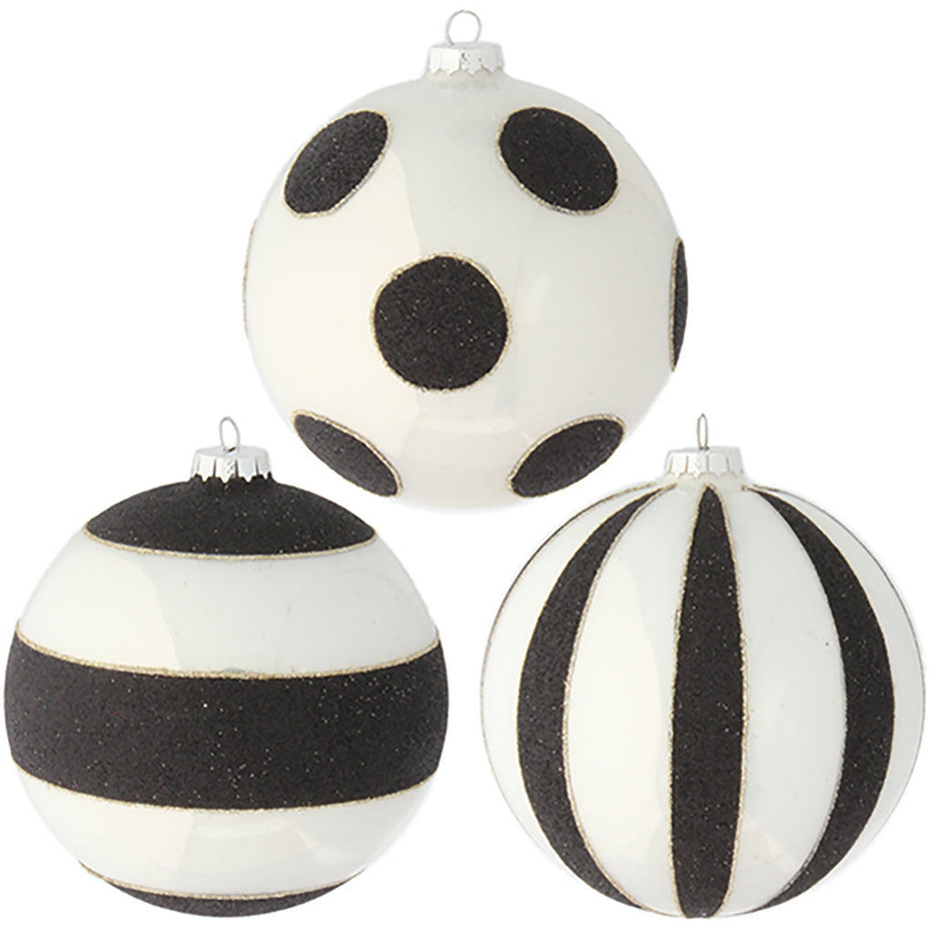 DOTTED AND STRIPED BALL ORNAMENTS