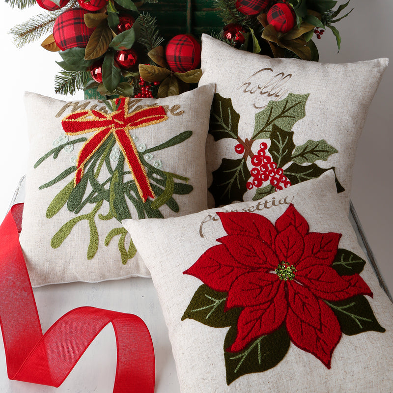 EMBROIDERED CHRISTMAS HOLIDAY PILLOWS