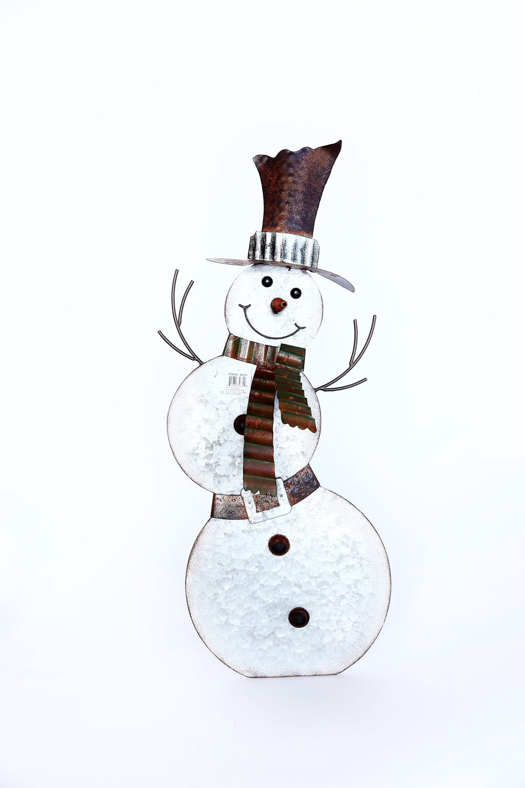 GALVANIZED METAL SNOWMAN WITH BACK STAND