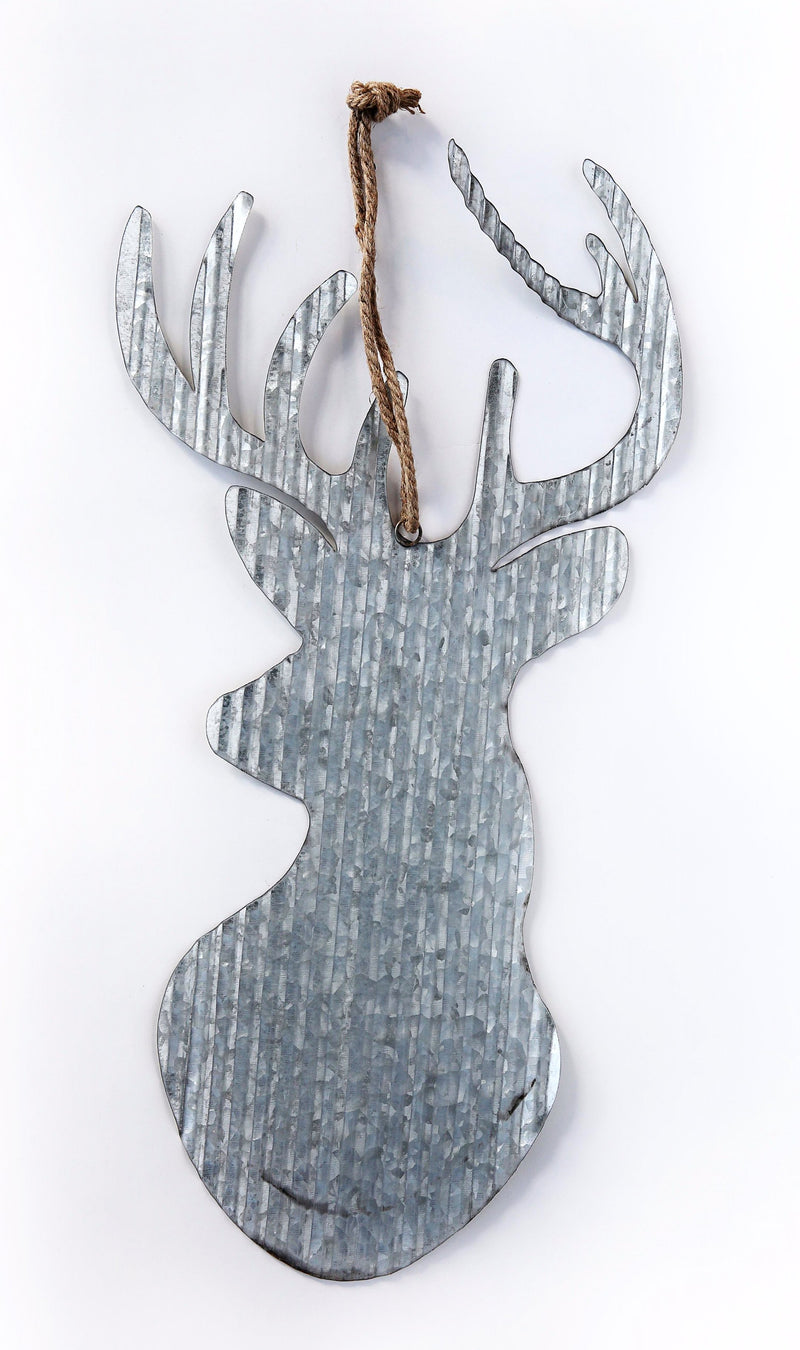 LARGE RUSTIC METAL DEER HEAD WITH ROPE HANGER