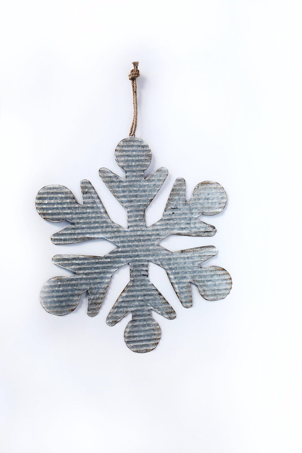 EXTRA LARGE RUSTIC METAL SNOWFLAKE WITH ROPE HANGER
