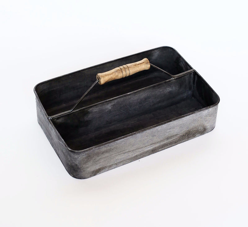 2 SECTION RECTANGLE METAL DEEP TRAY WITH WOODEN ROLL HANDLE