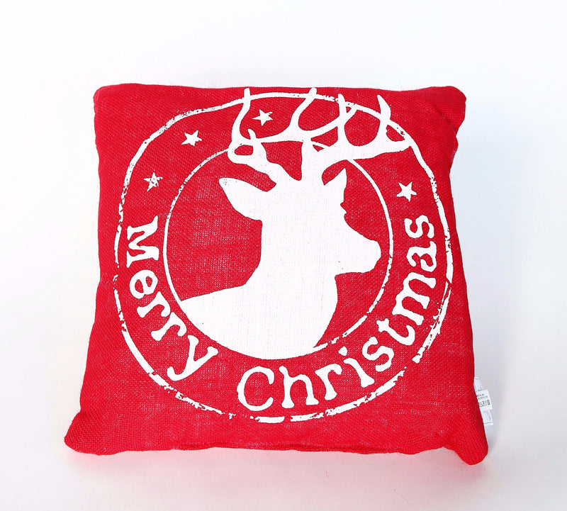 BURLAP REINDEER MERRY CHRISTMAS PILLOW