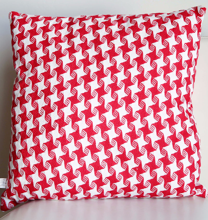 RED AND WHITE SWIRL PILLOW