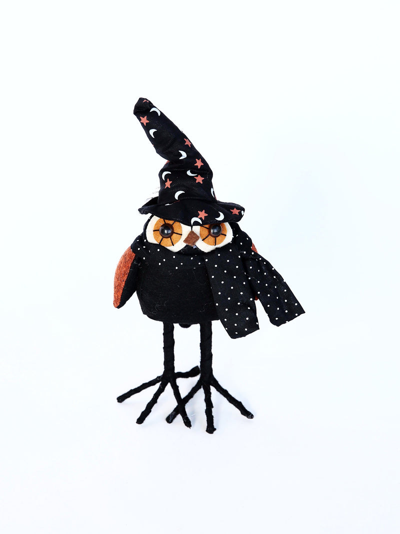 STANDING BLACK OWL WITH POLKA DOT SCARF