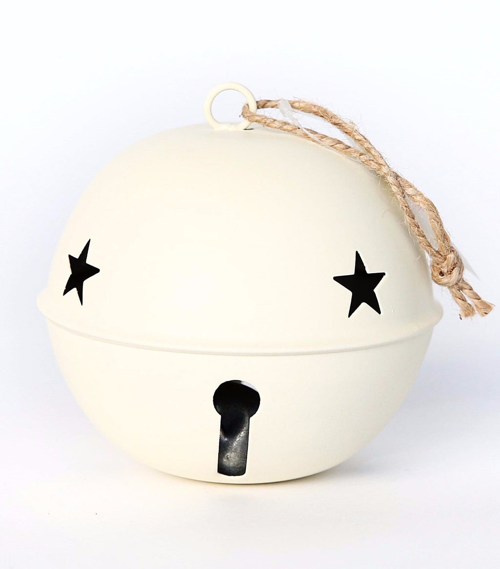 LARGE METAL CREAM BELL ORNAMENT