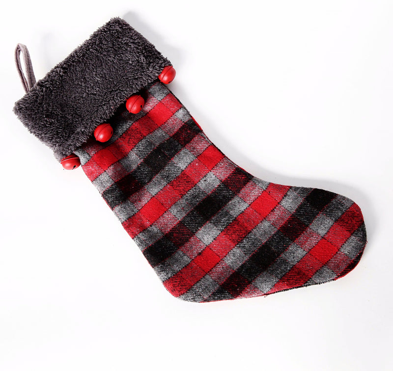 PLAID STOCKING WITH BELLS ON CUFF