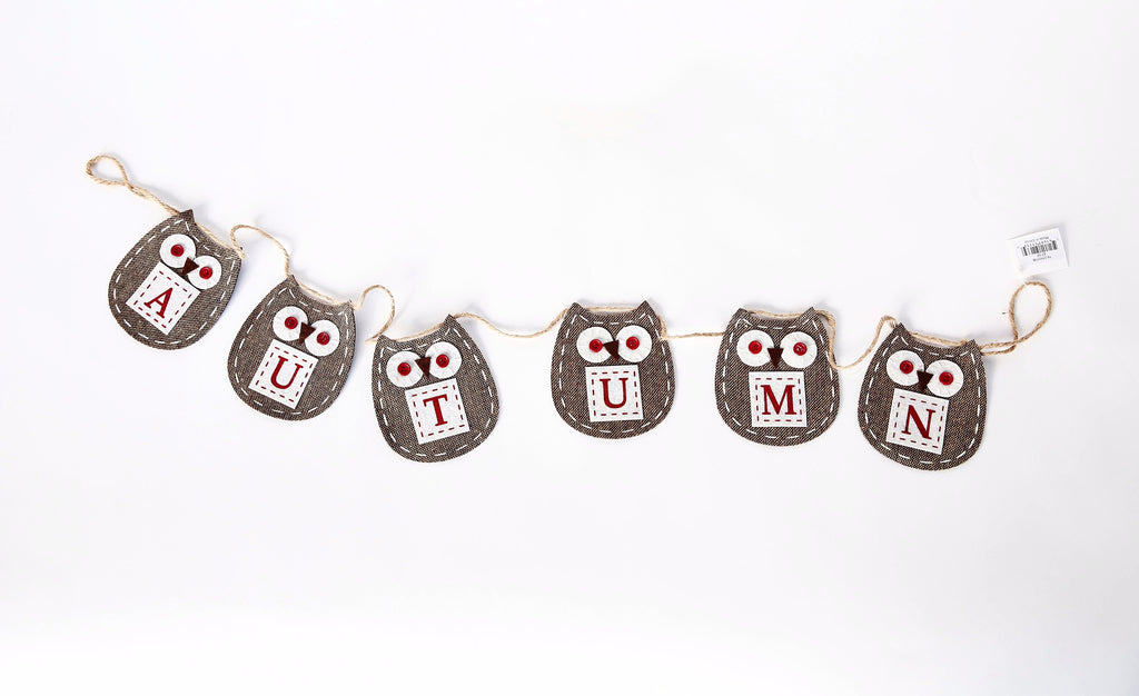 WOVEN FABRIC AUTUMN OWL GARLAND