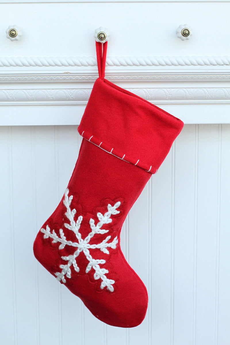 Red Cable Stitch Snowflake Stocking