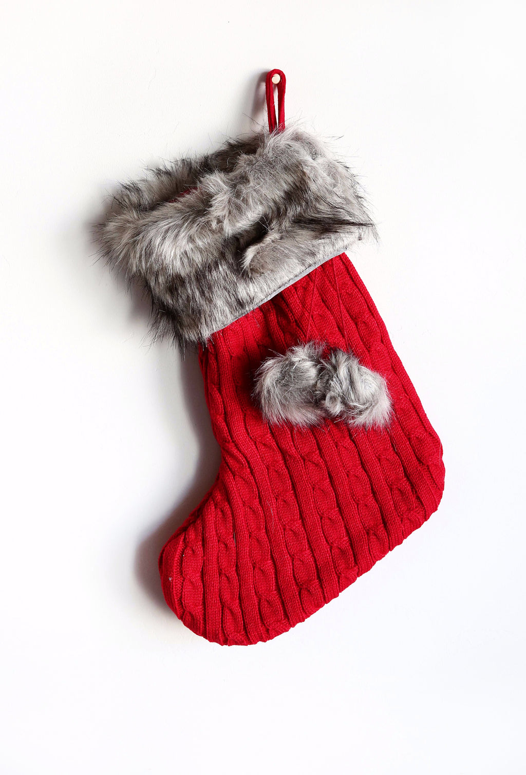 RED KNIT STOCKING WITH FUR CUFF AND BALLS