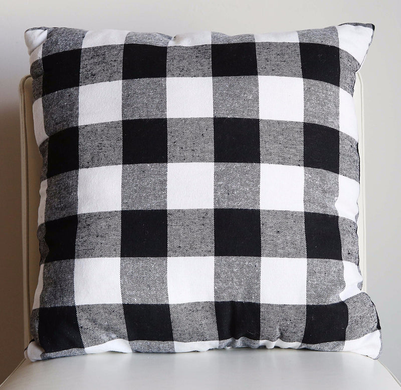 BLACK AND WHITE PLAID PILLOW