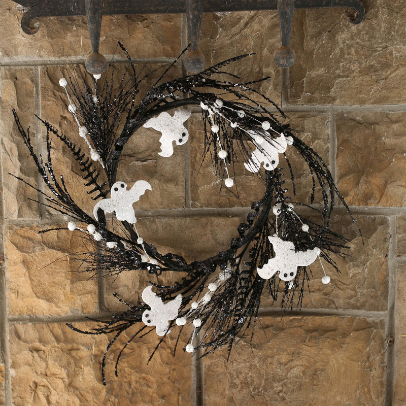 Black and White Ghost Halloween Wreath