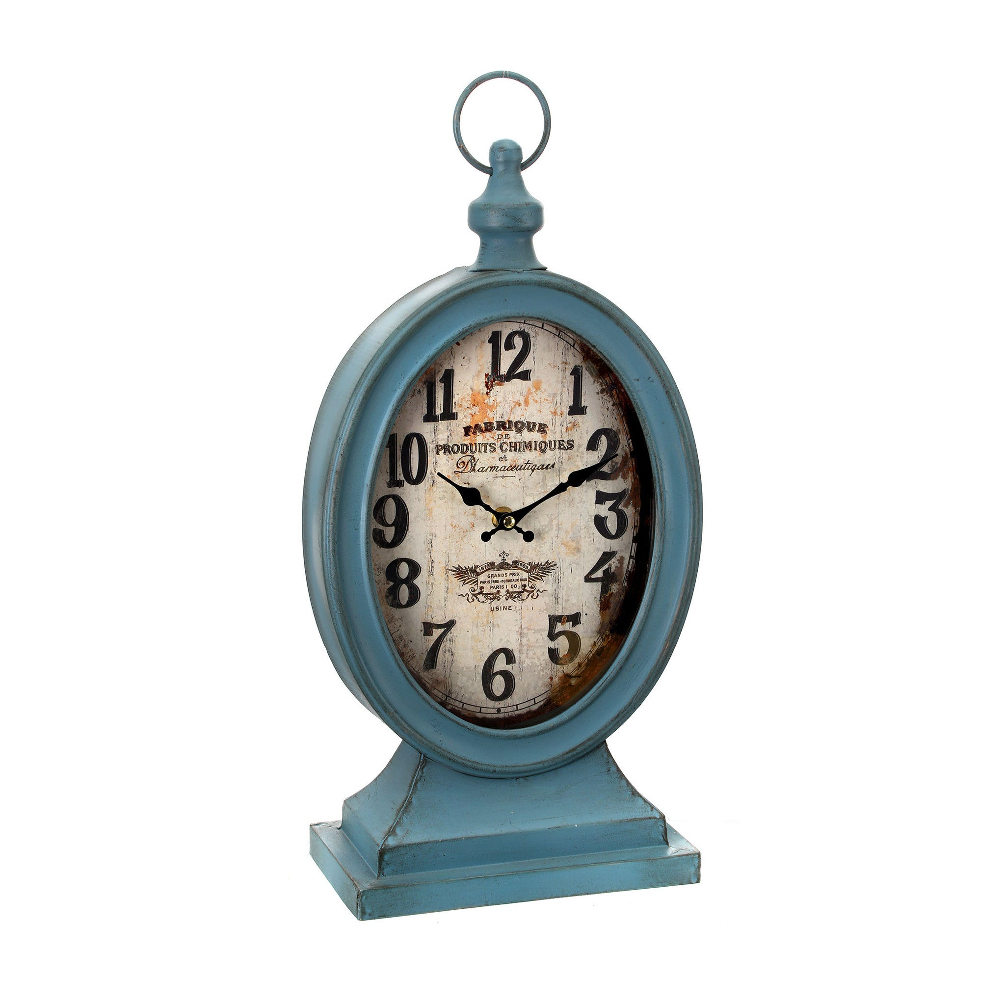 Blue Metal Oval Clock on Base