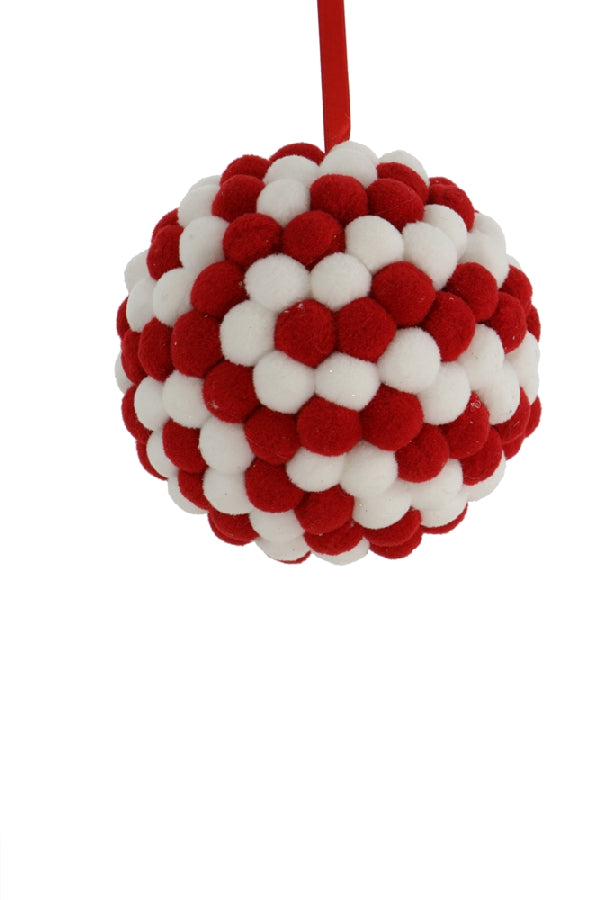 "6"" RED AND WHITE FELT ORNAMENT BALL"