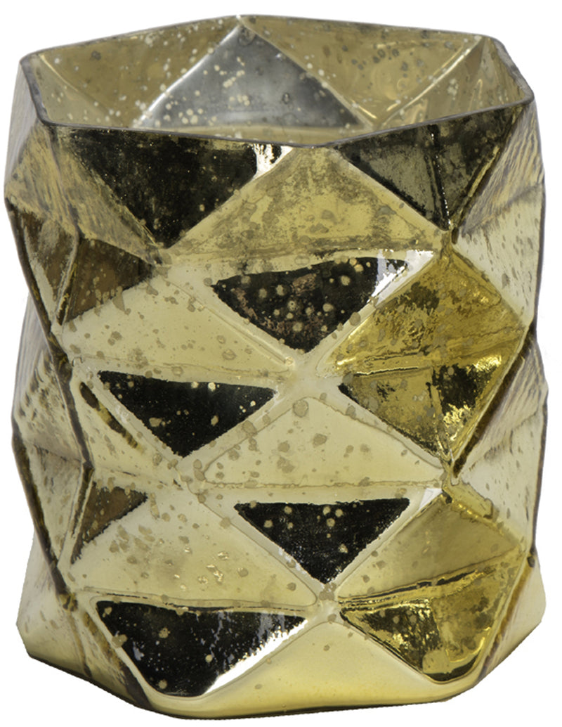GEOMETRICAL ANTIQUE GOLD GLASS VOTIVE HOLDER