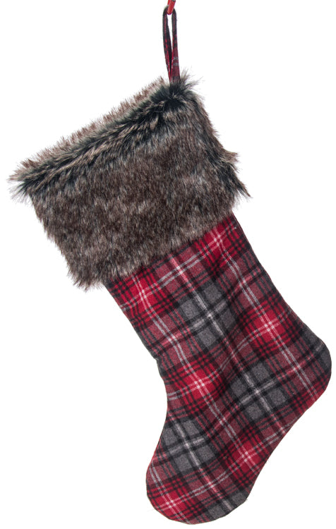 PLAID BLACK, GRAY AND RED WITH FUR CUFF STOCKING