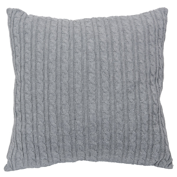 LIGHT GRAY CABLE KNIT PILLOW