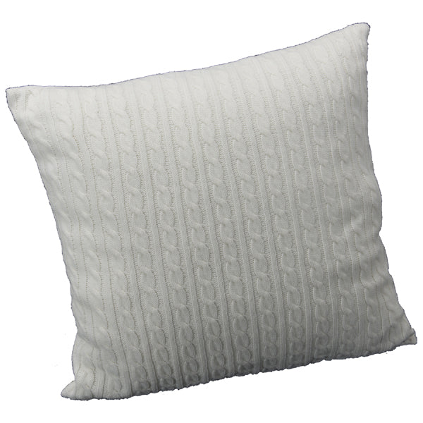"20"" WHITE CABLE KNIT PILLOW"
