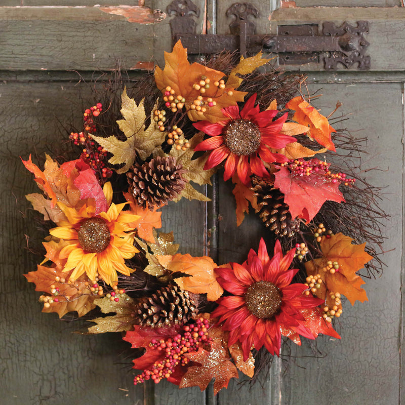 "24"" Fall Glitter Leaf Sunflower & Twig Wreath!"