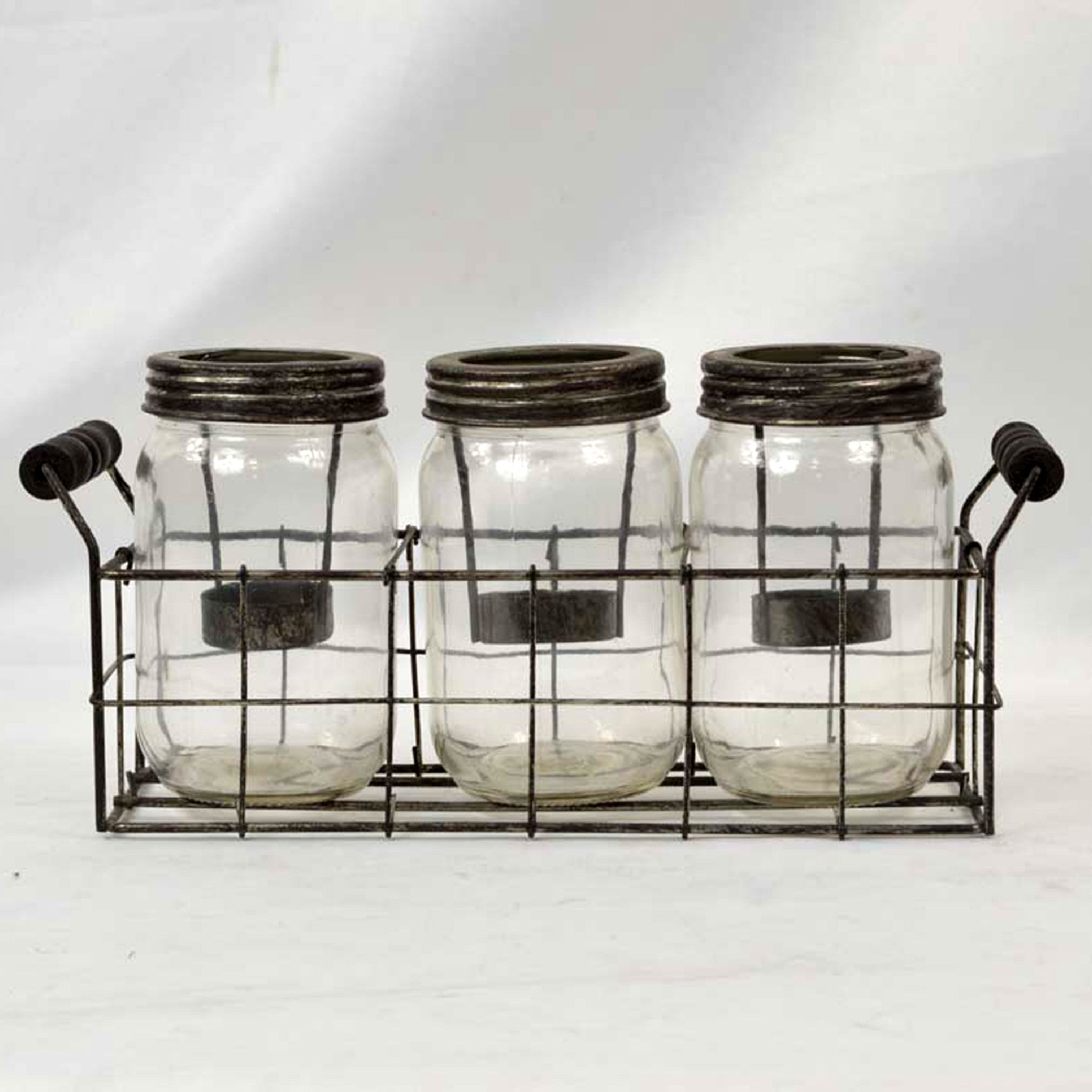3 Jar Glass Candle Holder