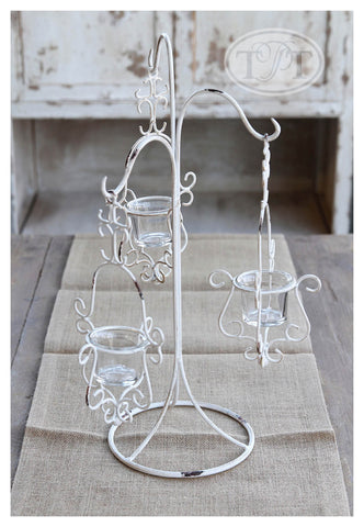Wrought Iron 3 Hook Candleholder