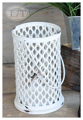 Open Weave Metal Handled Candleholder in Antique Cream