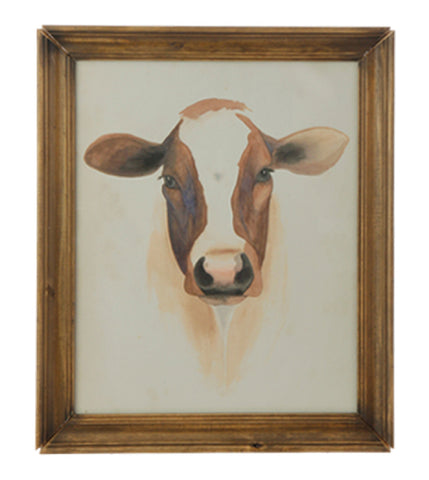 Framed Cow Print with Glass!