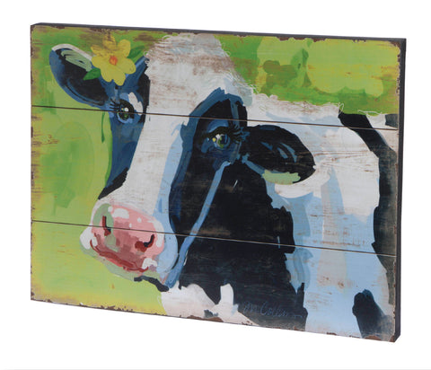 Cute Cow Art on Slat Wood!