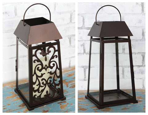 Stylish Lantern with Interchangeable Metal Panels