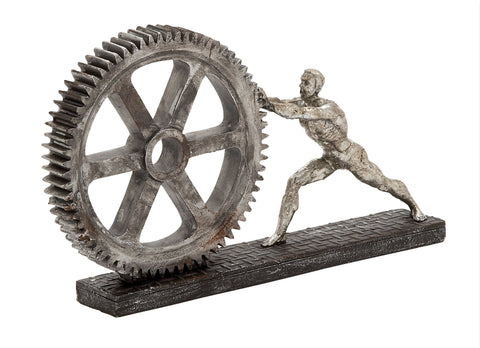 Polystone Gear Wheel & Figure Sculpture!