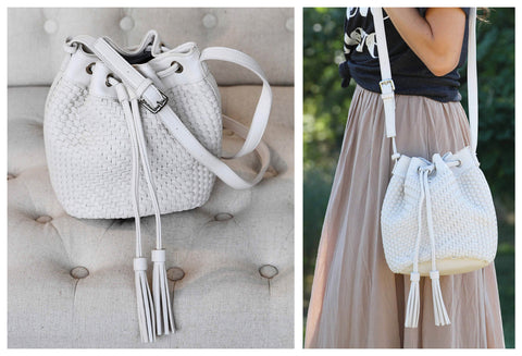 Tassel Detail Woven Bucket Bag