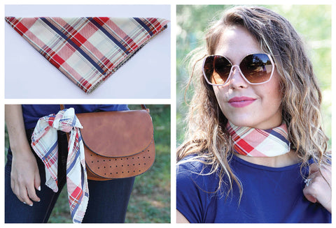 Red, Cream & Navy Plaid Scarf