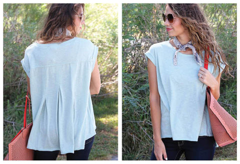 Oversized Mint Top with Pleated Detail on the Back