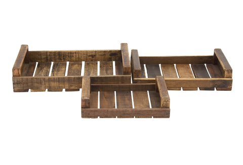 Rustic Rectangular Wood Trays