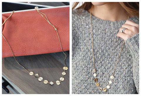 Double Layered Necklace with Fringe Detail