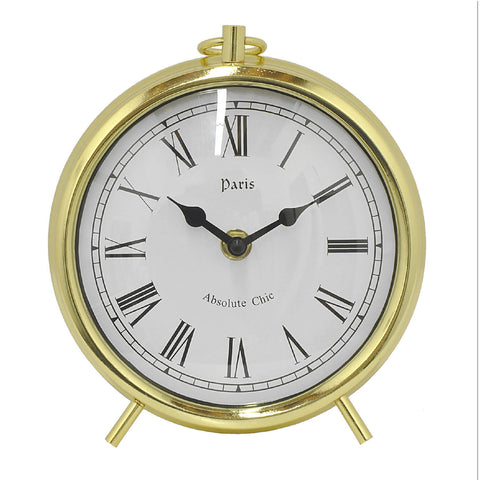 Round Desk Clock with Legs & Roman Numerals