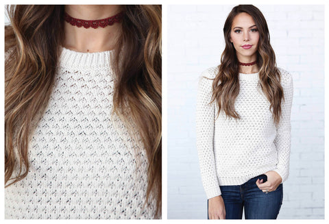 Crew Neck Knit Oatmeal Sweater