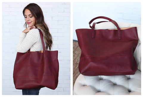 Oversized Burgundy Tote