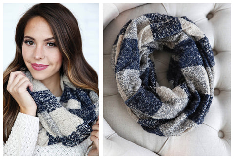 Navy Check Infinity Scarf