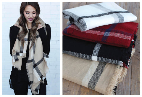Giftable Plaid Banket Scarves in Black, Camel, Red & White!
