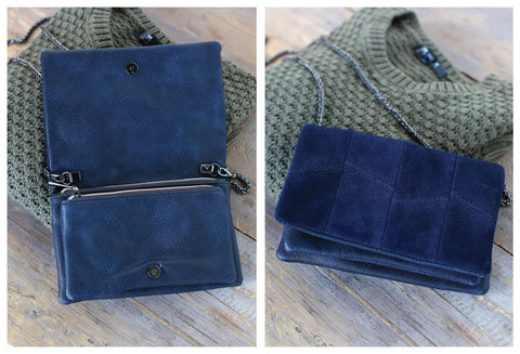 Navy Blue Suede Shoulder Bag with Gunmetal Strap & Appointments