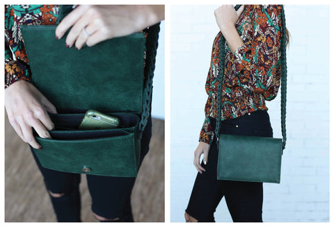 Hunter Green Bag with Beautiful Braided Strap.
