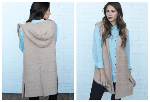 Incredibly Soft Hooded Vest in Beige