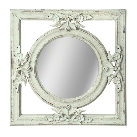 "Round Mirrors choose from 2 colors  in 12"" wood square frames!"