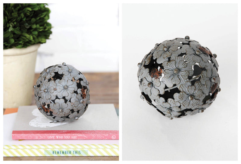"4"" Metal Flower Ball in Antique Gray"
