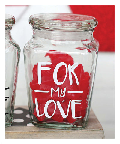 FOR My LOVE Lidded Jar in White