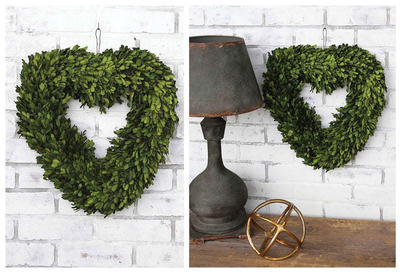 "16"" Heart Preserved Boxwood Wreath"