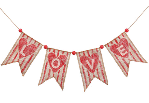 Love Garland with Hearts on Double Point Flags!